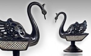 handcrafted black swan carving