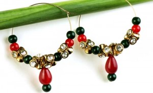 Maroon & Gold Earrings