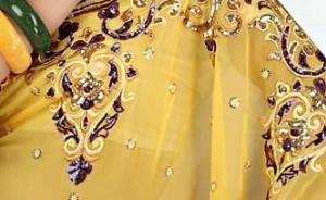 Golden Yellow Faux Georgette Saree with Blouse
