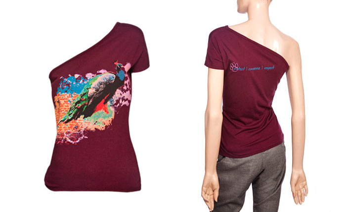 100% organic cotton burgundy coloured Peacock Ladies T-shirt