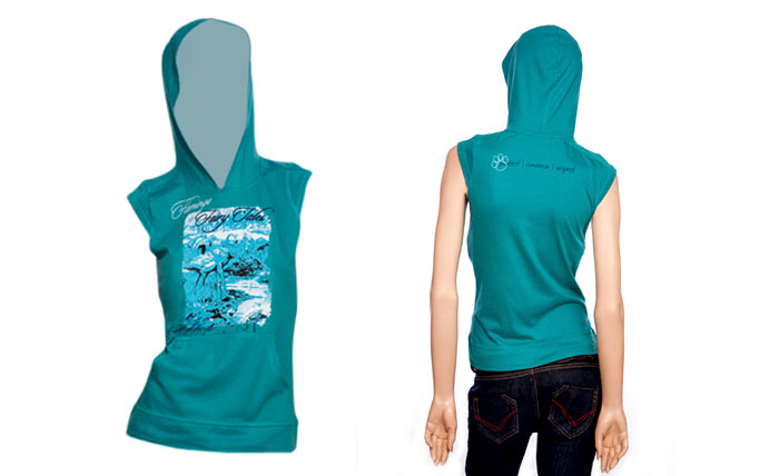 100% organic cotton green blue slate coloured Flemingo Ladies Hood Top