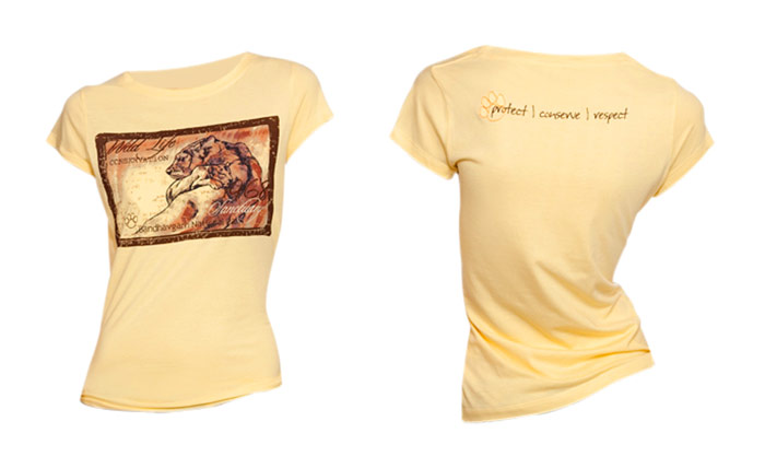 100% organic cotton pale banana coloured Mother  & Child Ladies T-shirt