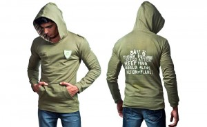 100% organic cotton olive coloured Pench Men's Hood Top