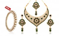 Gold plated necklace set and Austrian diamond bangle- Combo 660